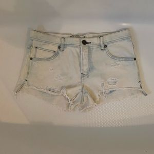 Free People Distressed Whitewashed Jean Shorts